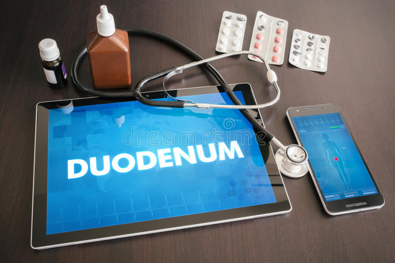 Duodenum (gastrointestinal disease related organ) diagnosis medical concept on tablet screen with stethoscope royalty free stock photography