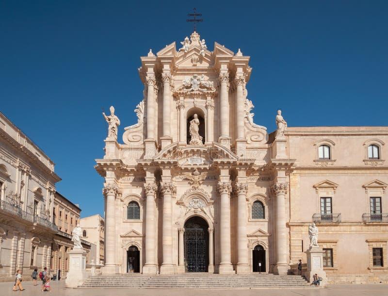 Duomo av Syracuse i sydliga Sicilien, Italien royaltyfri fotografi