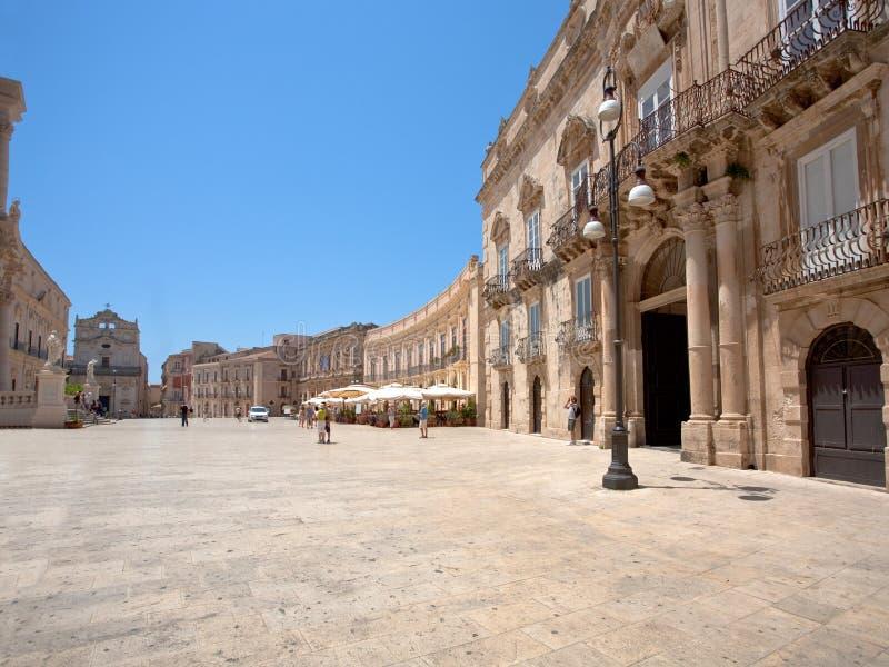 Duomo baroque de Piazza de type à Syracuse photos libres de droits