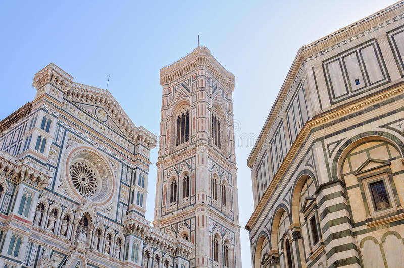 Duomo, Campanile, Battistero - Florence. Cathedral (Duomo), Bell Tower (Campanile) and Baptistery (Battistero) - Florence, Tuscany royalty free stock photos