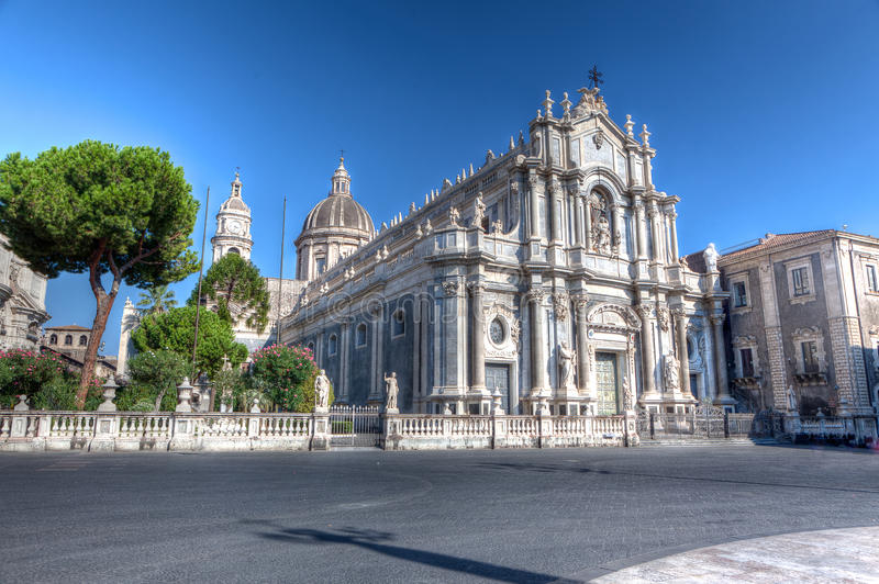 Duomo, Cathedral, Catania, Sicily, Italy. The baroque duomo or cathedral Church of Catania, Sicily, Italy in the early morning stock image