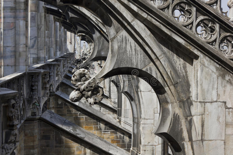 Duomo Cathedral in Milan, roof architectural detail royalty free stock images