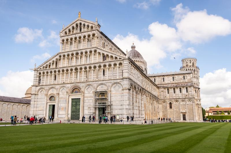 Duomo cathedral of Pisa, with the Leaning Tower behind. Tuscany, Italy royalty free stock photos