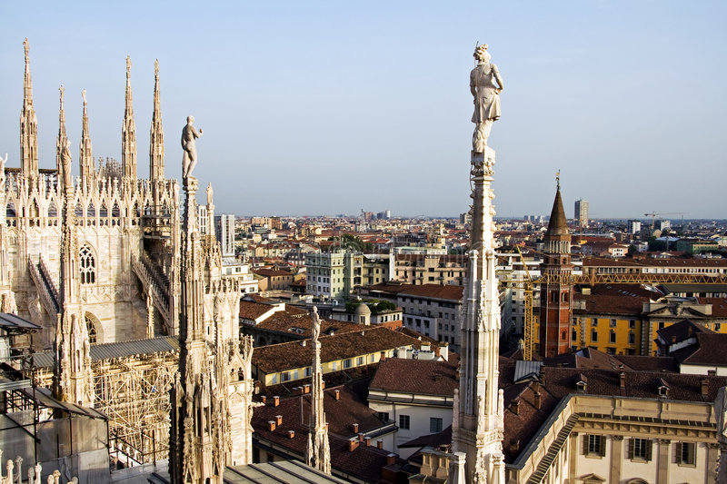 Duomo Catherdral. A view from roof of the Duomo Cathedral against the backdrop of the Milan city stock photo