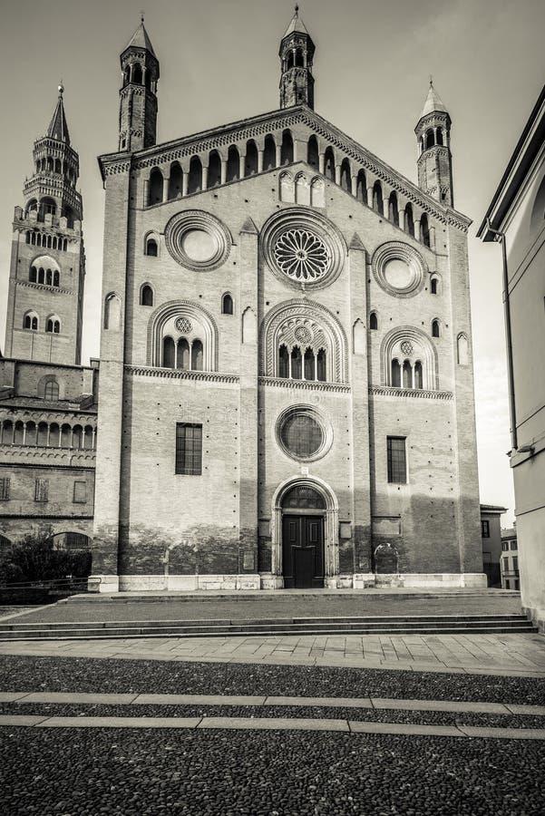 Duomo of Cremona south facade stock images