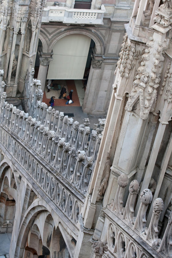 Duomo di Milano. Detail of sculptural decoration of the Duomo in Milan stock image