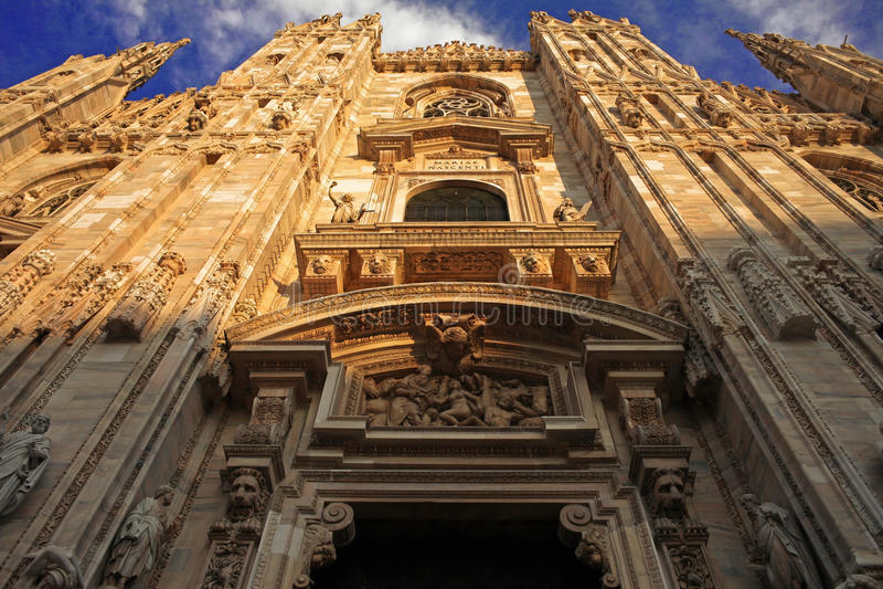Download Duomo Di Milano, Facade Frontal Below View Stock Image - Image of marble, range: 13336663