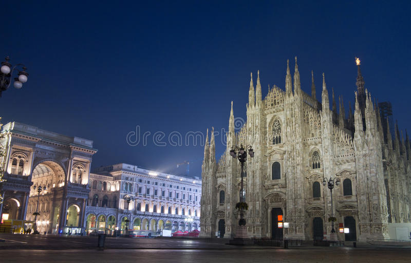 Duomo di Milano and Galleria Vittorio Emanuele. Night view of Duomo di Milano and Galleria Vittorio Emanuele royalty free stock images
