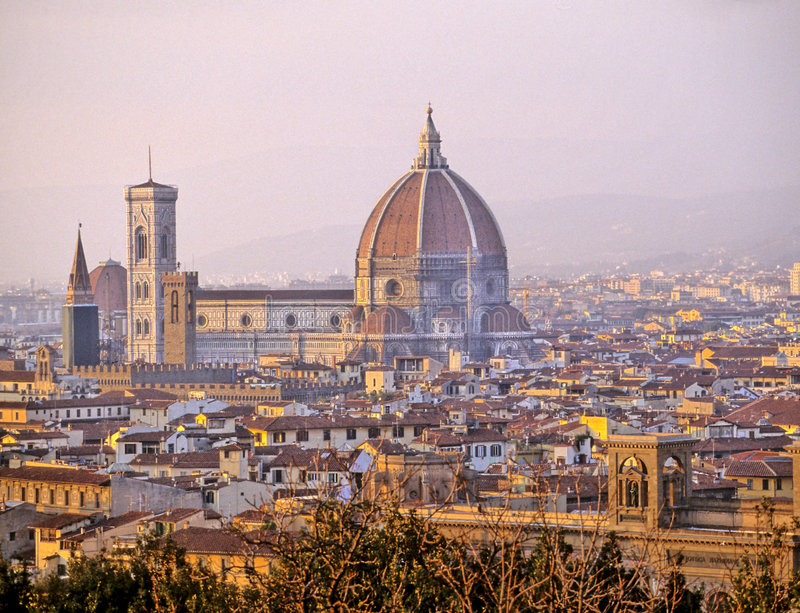 Duomo- Florence, Italy. View of the Renaissance Duomo from Piazzale Michelangelo in the city of Firenze (Florence), Italy royalty free stock photography