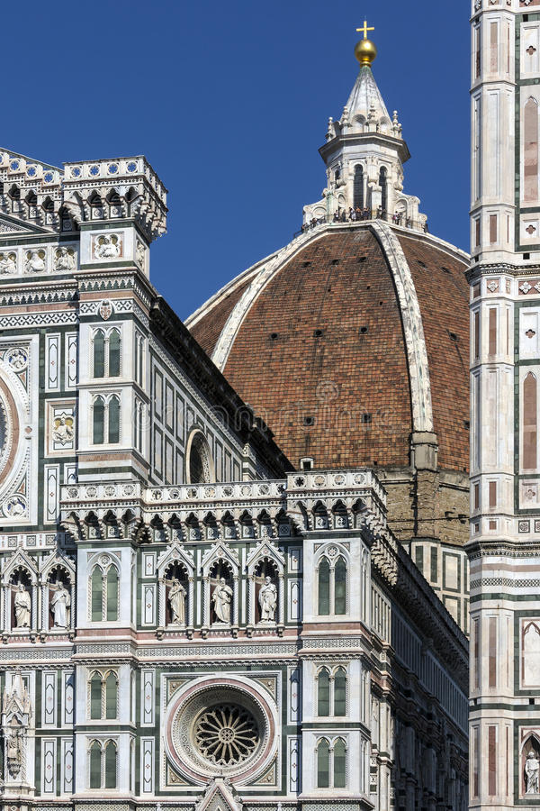 The Duomo - Florence - Italy. The great dome of the Duomo (Cattedrale di Santa Maria del Fiore) seen from a side street off Piazza Duomo in Florence in Tuscany royalty free stock photos