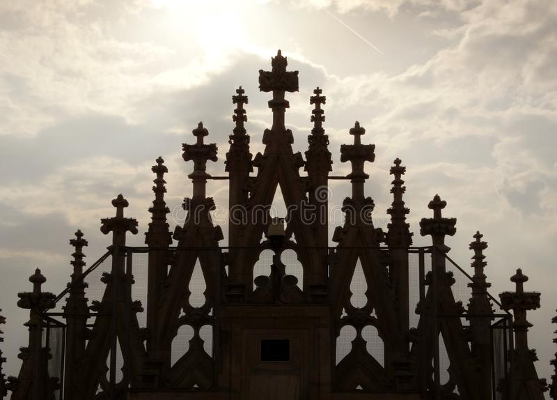Duomo Mediolan, szczegół od dachu obraz stock