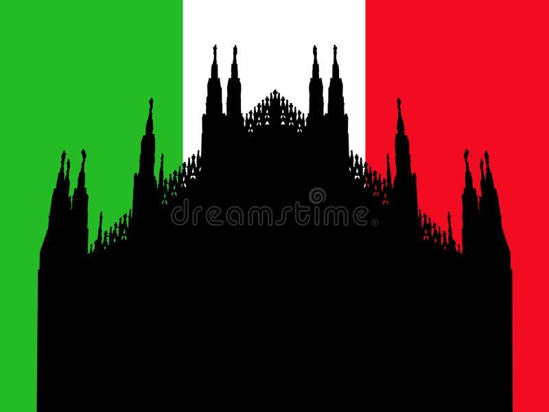 Duomo Milan avec l'indicateur illustration stock