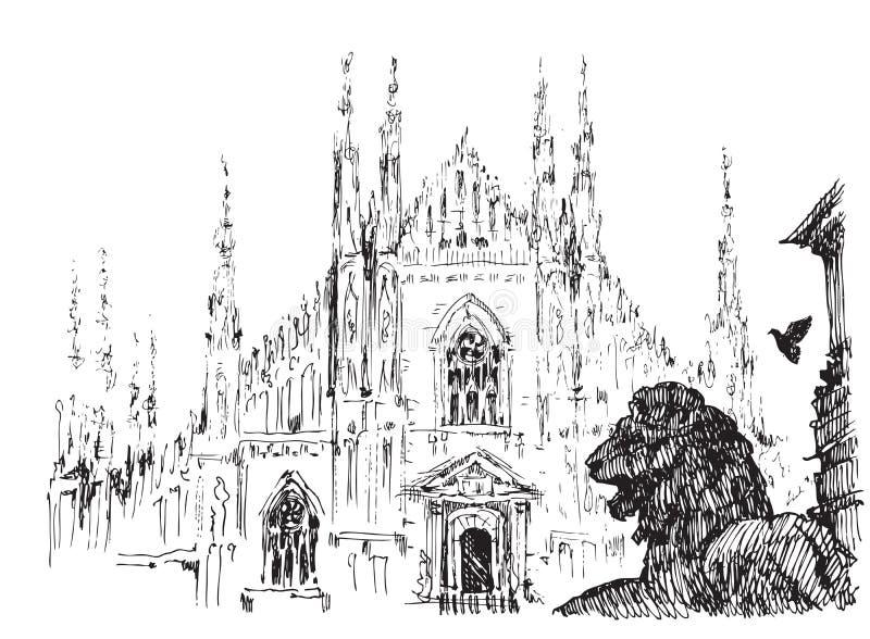 Duomo, Milano ilustración del vector