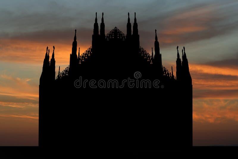 Duomo Milano al tramonto illustrazione vettoriale
