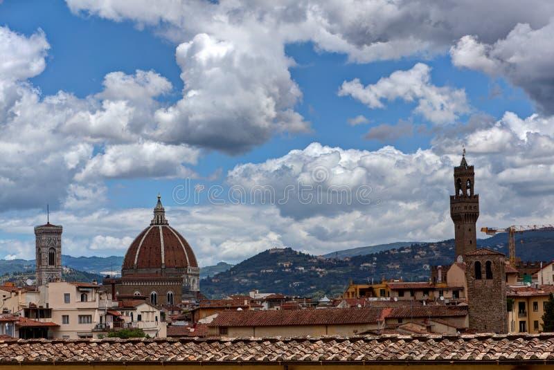 Duomo Palazzo Vecchio Florence Firenze Tuscany Italy. View at the Duomo or Basilica di Santa Maria del Fiore, and tower of the Palazzo Vecchio in Florence stock image