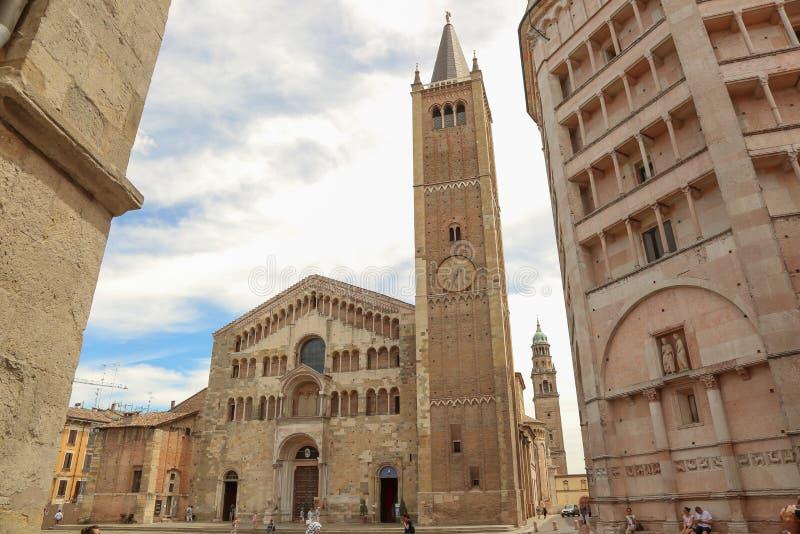 Duomo van Parma stock foto's