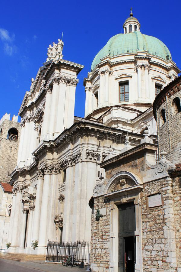 The Duomo Vecchio or Old Cathedral, Brescia, Italy. Brescia is a city located in northern of Italy near the famous Lake stock photos