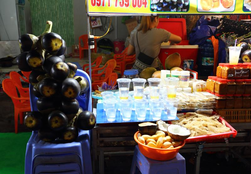 Palm juice for tourists in street market royalty free stock photos