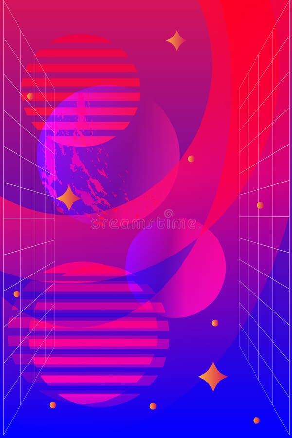 Duotone abstrakt geometrisk bakgrund, uristic begrepp för fut, blåa, rosa och orange färger för ljust neon vektor illustrationer