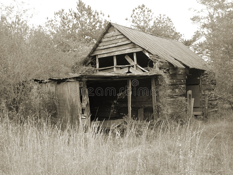Duotone barn in field in Georgia USA royalty free stock images