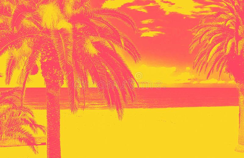 Duotone beach with palm trees. Panoramic of beach with palm trees with duotone effect. Abstract color background stock illustration
