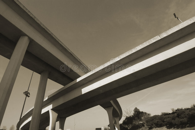 Duotone of Interstate Overpass royalty free stock photography