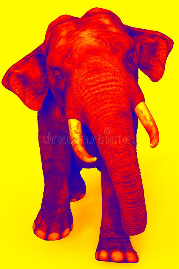 Duotone wolking elephant yellow red and blue royalty free illustration