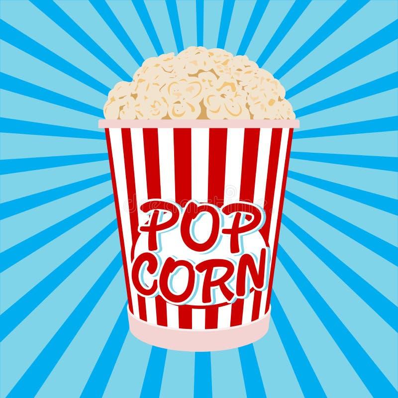 Cartoon bowl full of popcorn and paper vector stock photo