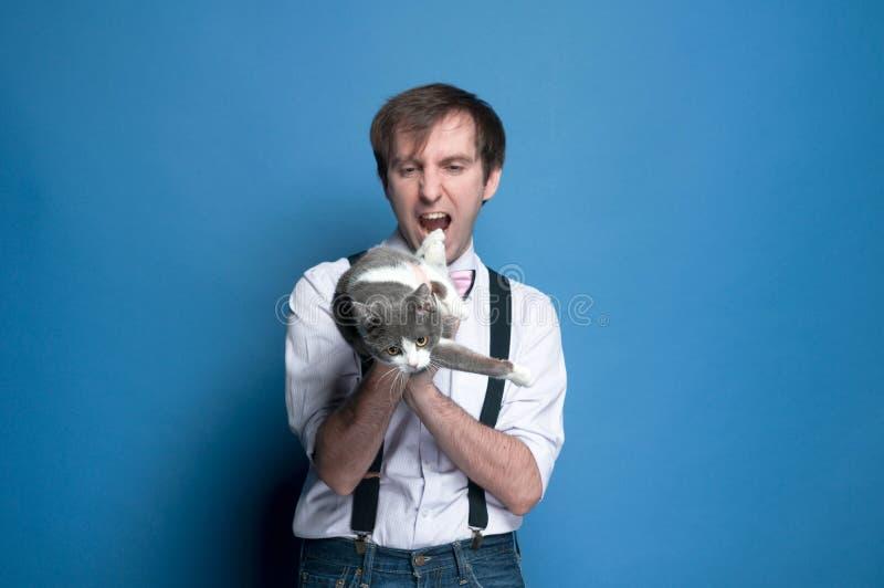 Duper beau autour de l'homme dans la chemise et la bretelle tenant et regardant le chat gris et blanc mignon et montrant comme si images libres de droits