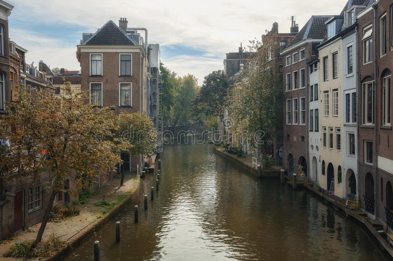 Duplex channels Utrecht. The Oudegracht, or old canal, runs through the center of Utrecht, the Netherlands royalty free stock photo