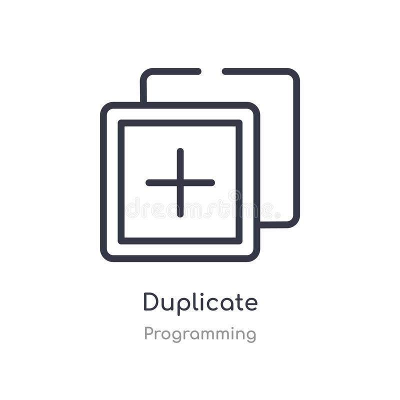 Duplicate outline icon. isolated line vector illustration from programming collection. editable thin stroke duplicate icon on. White background vector illustration