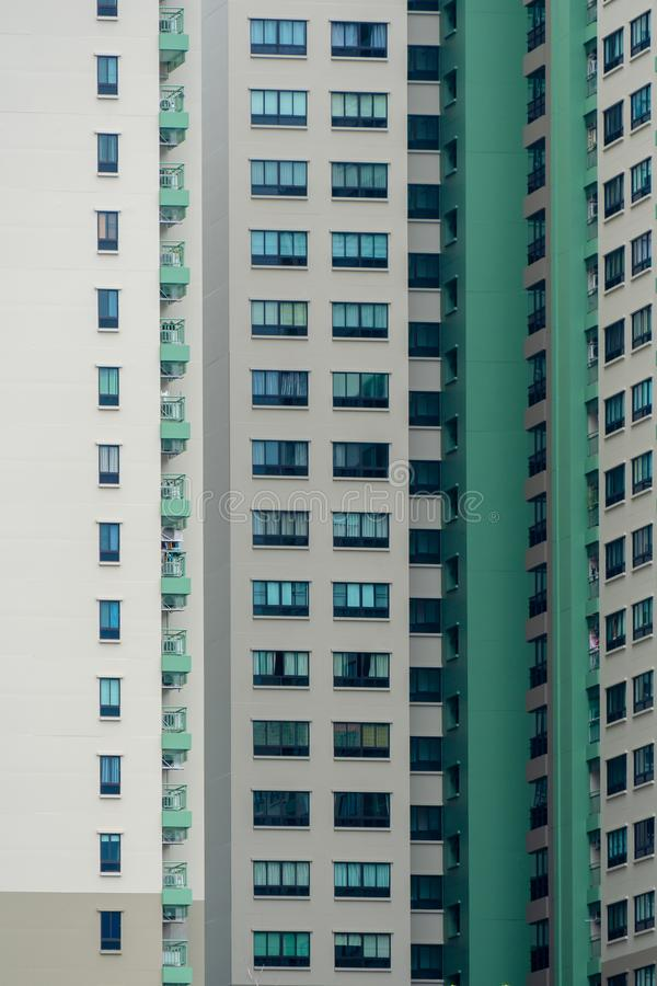 Duplicates of windows and balconies, condos, part of the green building royalty free stock photo