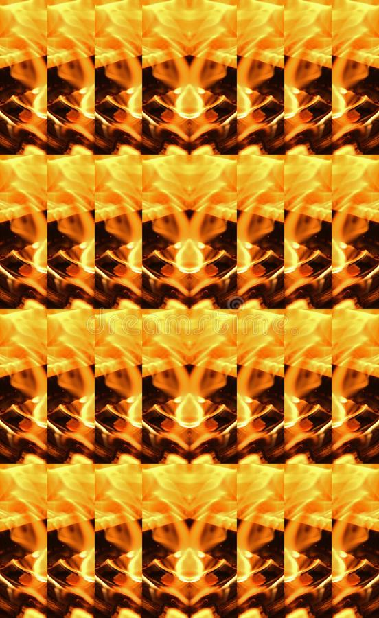 DUPLICATION PATTERN OF A SECTION OF FLAMES. Image of a fiery abstract decorative repeat pattern in yellow, orange and black stock images