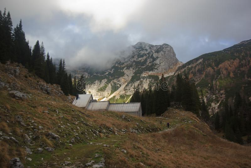 Duplje山牧场地小屋斯洛文尼亚,欧洲中部 图库摄影