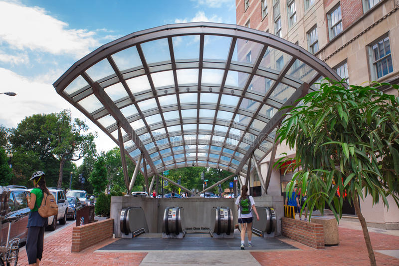 Dupont Circle Washington DC. Washington DC - AUGUST 8, 2015: View of subway entrance at Dupont Circle in Washington DC with people visible stock photo