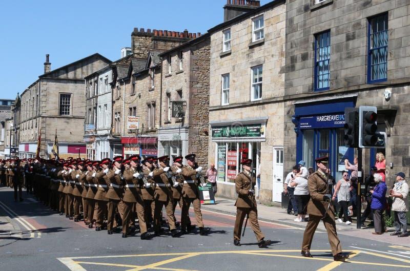 Duque del regimiento Lancaster que marcha del ` s de Lancaster imagenes de archivo