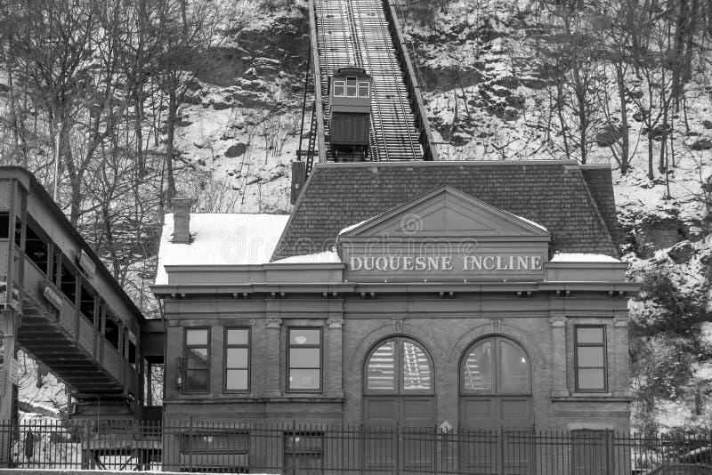 Duquesne sluttning i Pittsburgh royaltyfria bilder