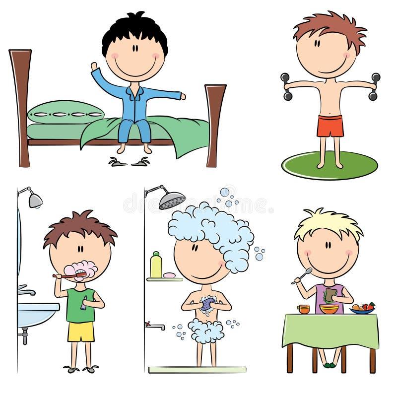 Durée quotidienne de garçons de matin illustration libre de droits