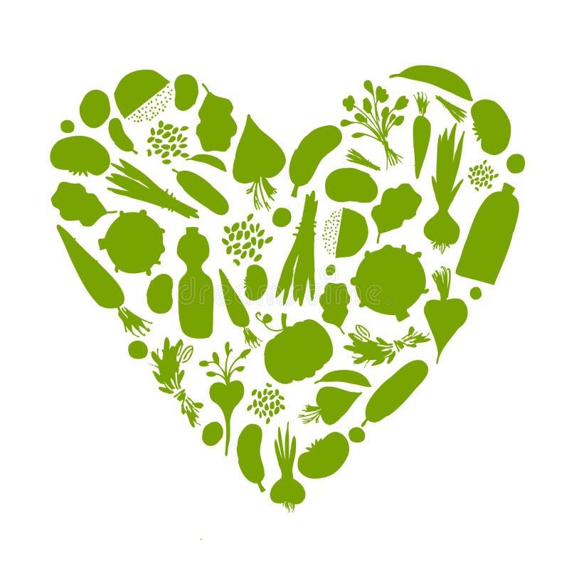 Durée saine - forme de coeur avec des légumes illustration de vecteur