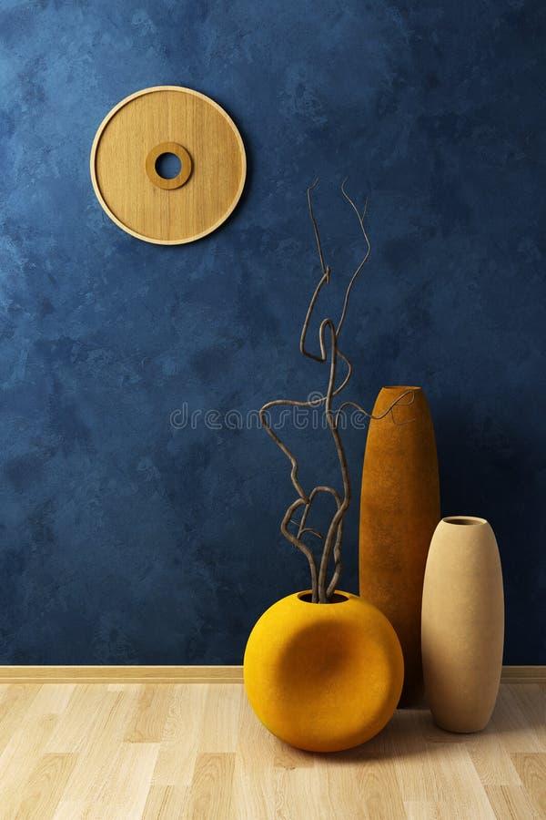 Durée toujours avec les vases et le brunch dryed illustration stock