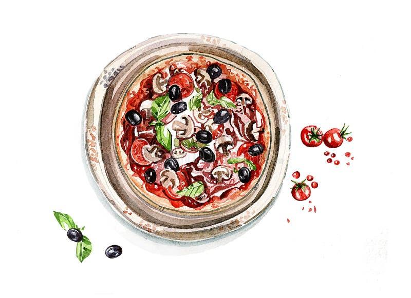 Dur?e toujours 1 Pizza avec des champignons, des tomates et des olives watercolor illustration de vecteur