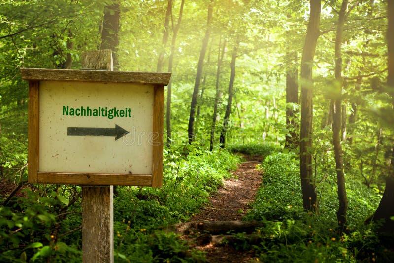 Durabilité - Word allemand Nachhaltigkeit images libres de droits