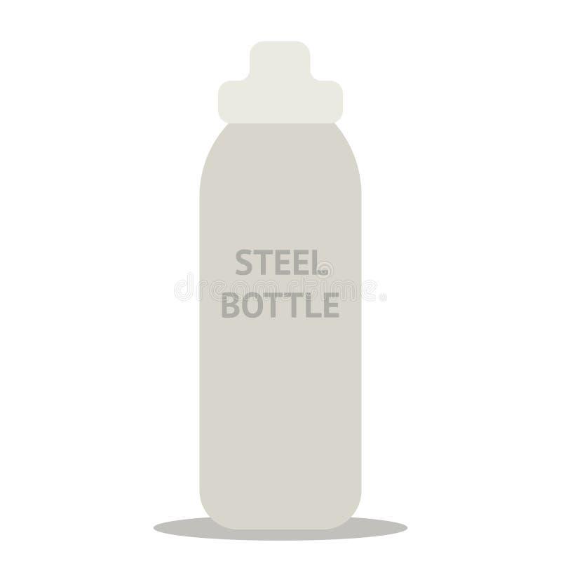 Durable, high quality reusable stainless steel bottle as alternative to plastic bottles. Concept zero waste. Durable, high quality reusable stainless steel stock illustration