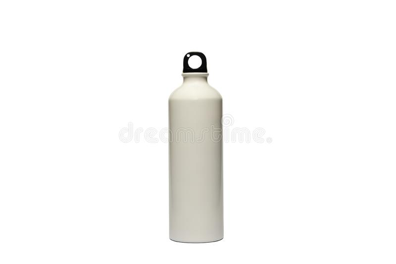 A durable, high-quality, reusable white stainless steel bottle on an isolated white background as an alternative to plastic bottle. S. Toxin, BPA, a plastic stock images