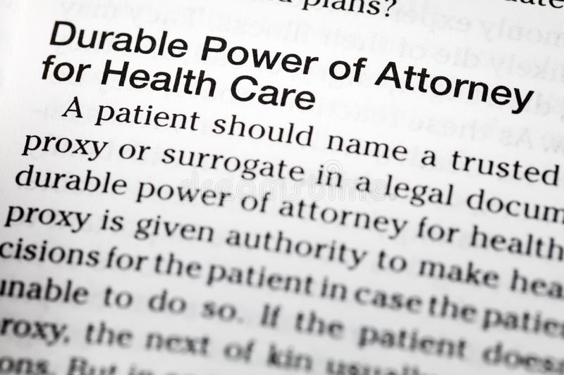 Durable power attorney health care definition. Dictionary medical legal document royalty free stock images