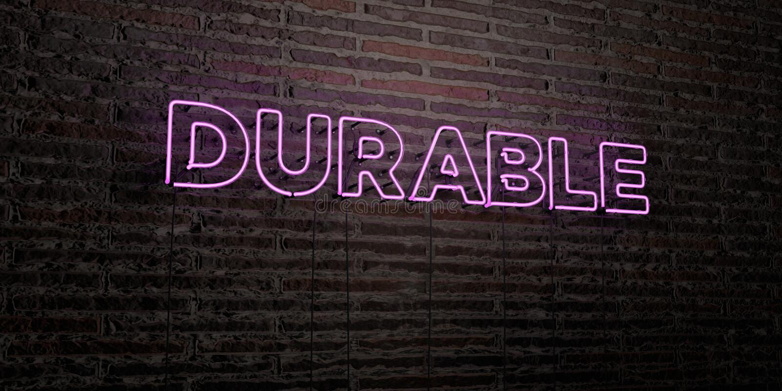 DURABLE -Realistic Neon Sign on Brick Wall background - 3D rendered royalty free stock image. Can be used for online banner ads and direct mailers royalty free illustration