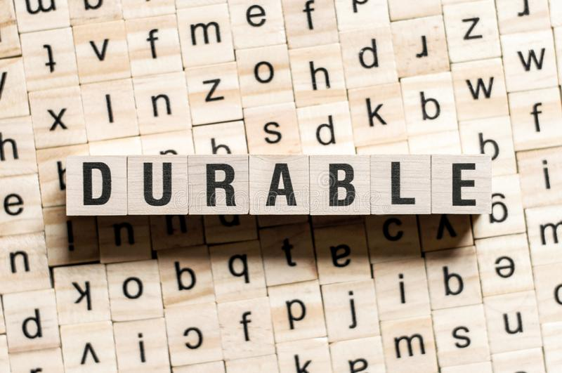 Durable word concept. On cubes stock images