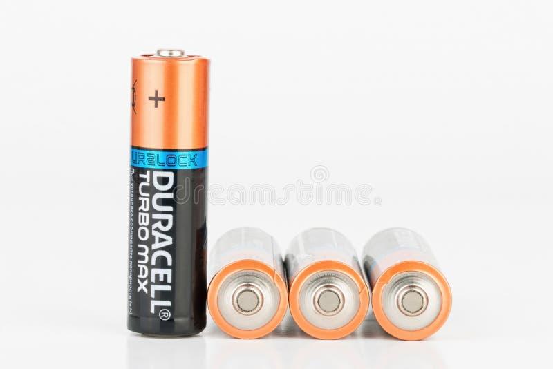 Duracell涡轮最大碱性AA电池 免版税库存图片