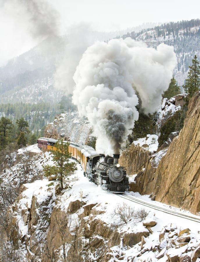 Durango och järnväg Silverton för smalt mått, Colorado, USA arkivfoto