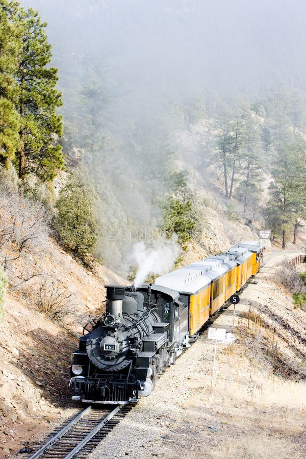 Durango Silverton Narrow Gauge Railroad, Colorado, de V.S. royalty-vrije stock foto's